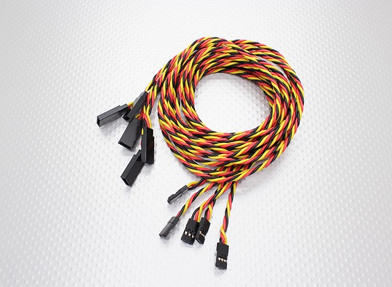 Twisted 100cm Servo Cable de extensión (JR) 22 AWG (5pcs / set)