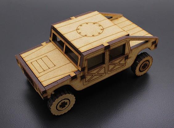 Camión militar cortado con láser Modelo de madera (KIT)