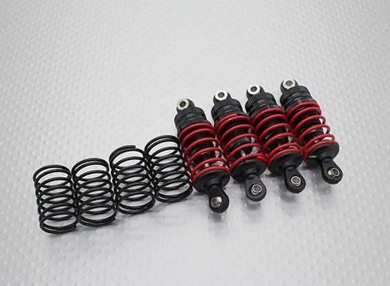 Trackstar Tamiya Mini de aceite de aluminio Lleno de choque ajustable Amortiguador Conjunto (4PC)