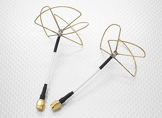 2.4 GHz polarizados circulares de la antena RP-SMA (Set)