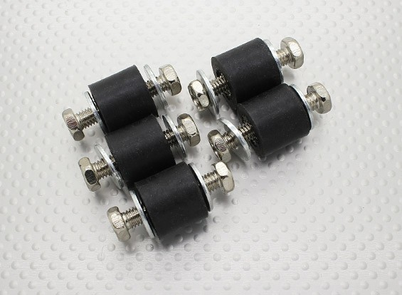 Anti vibraciones de caucho bloques de montaje - M6 x D18 x H16mm - (5 piezas)