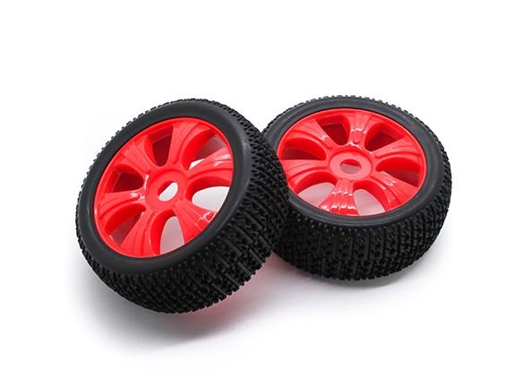 HobbyKing 1/8 Escala de ruedas T Bloque de radios en Y / neumático de 17 mm Hex (rojo)