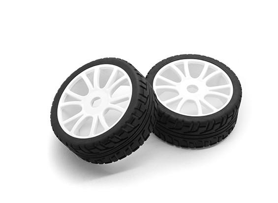 HobbyKing 1/8 Escala de ruedas RX Rally de radios en Y / neumático de 17 mm Hex (blanco)