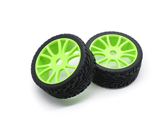HobbyKing 1/8 Escala de ruedas RX Rally de radios en Y / neumático de 17 mm Hex (verde)