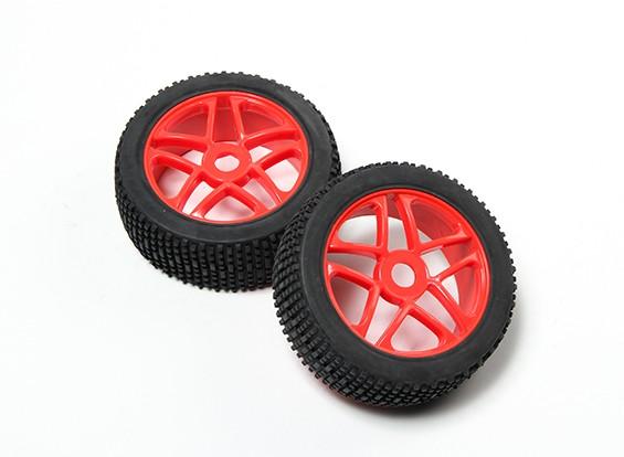 La rueda roja HobbyKing® 1/8 estrella fluorescente y Llantas Todoterreno 17mm hexagonal (2 piezas)
