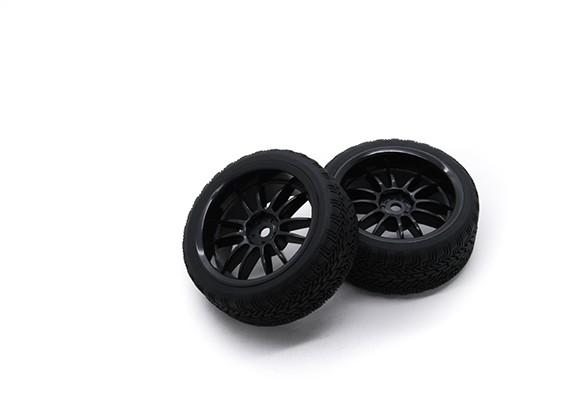 HobbyKing 1/10 rueda / neumático Conjunto AF Rally Radio de rueda trasera (Negro) de 26 mm de coches RC (2pcs)