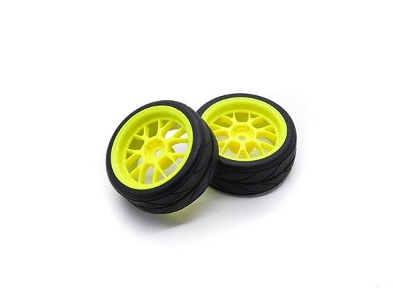HobbyKing 1/10 rueda / neumático Conjunto VTC Y Spoke (amarillo) de 26 mm de coches RC (2pcs)