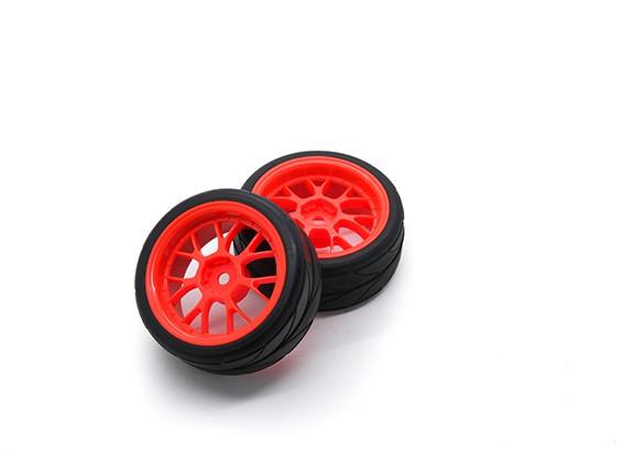 HobbyKing 1/10 rueda / neumático Conjunto VTC Y Spoke (rojo) de 26 mm de coches RC (2pcs)