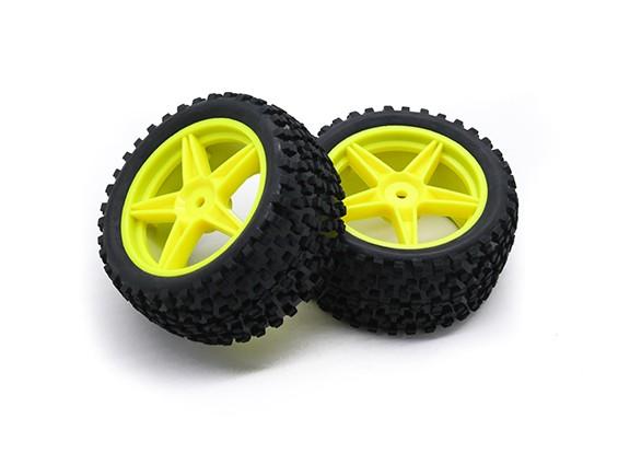 HobbyKing 1/10 Small Block 5 rayos posterior (amarillo) de la rueda / neumático de 12 mm Hex (2 unidades / bolsa)