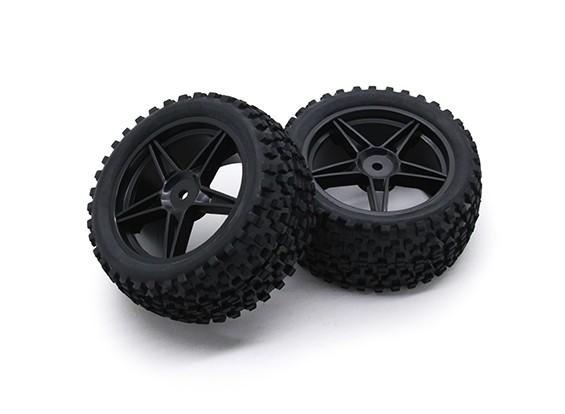 HobbyKing 1/10 Small Block 5 rayos Trasera (Negro) de la rueda / neumático de 12 mm Hex (2 unidades / bolsa)