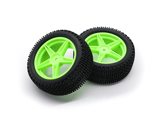 HobbyKing 1/10 Gekkota 5 rayos (verde) de la rueda / neumático de 12 mm Hex (2pcs / bolsa)