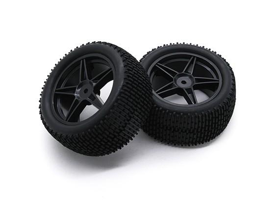 HobbyKing 1/10 Gekkota 5 rayos Trasera (Negro) de la rueda / neumático de 12 mm Hex (2pcs / bolsa)