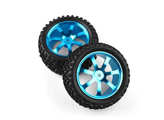 HobbyKing 1/10 de aluminio y 7 rayos trasero (azul) de la rueda / neumático de bloque grande de 12 mm Hex (2pcs / bolsa)