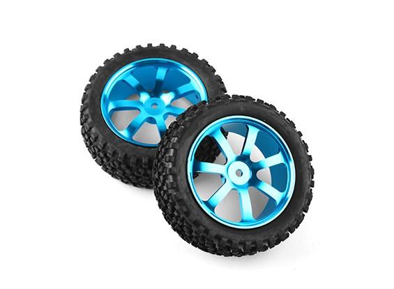 HobbyKing 1/10 de aluminio y 7 rayos frontal (azul) de la rueda / neumático de bloque grande de 12 mm Hex (2pcs / bolsa)