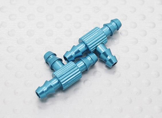 Aluminio anodizado tubo del combustible uniones en T (2pcs / bolsa)