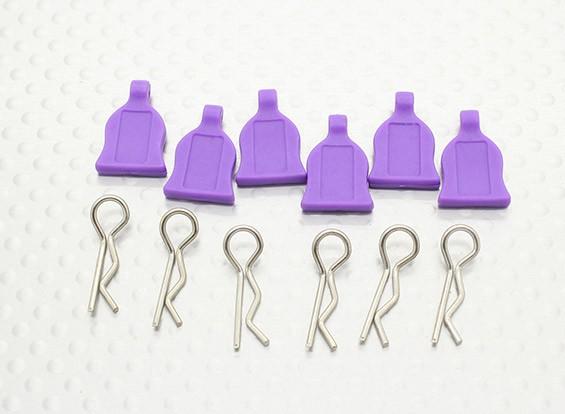 Clip 1/10 del cuerpo de coche de goma Con Tab 6pc (púrpura)