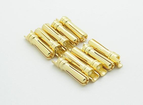 Hombre de 4 mm chapado en oro conector de resorte (10pcs / bag)