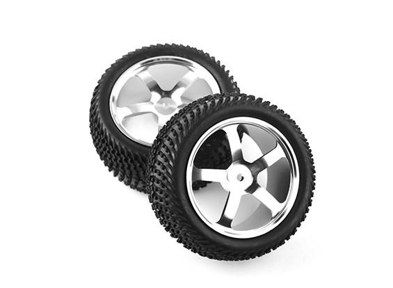 HobbyKing 1/10 de aluminio de 5 rayos trasera (Plata) de la rueda / neumático de la onda 12 mm Hex (2pcs / bolsa)