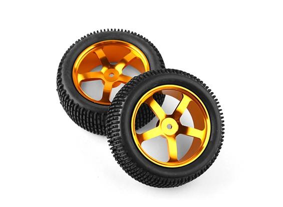 HobbyKing 1/10 de aluminio de 5 rayos frontal (oro) de la rueda / neumático de bloque pequeño de 12 mm Hex (2pcs / bolsa)