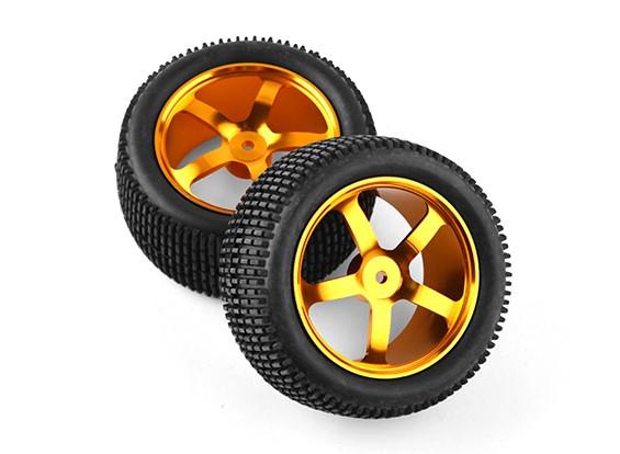 HobbyKing 1/10 de aluminio de 5 rayos trasera (oro) de la rueda / neumático de bloque pequeño de 12 mm Hex (2pcs / bolsa)