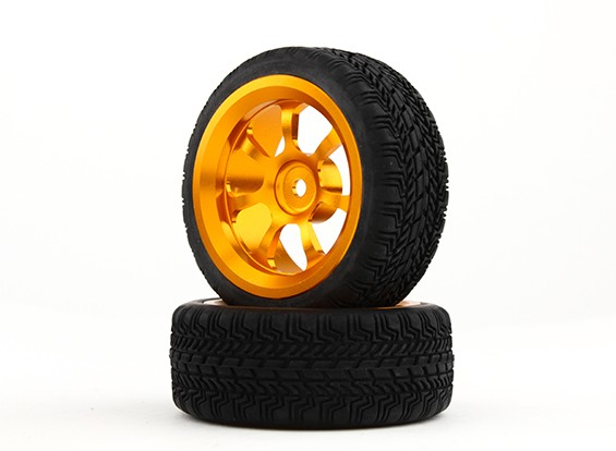 HobbyKing 1/10 de aluminio de 12 mm y 7 rayos rueda hexagonal (oro) / W 26mm Neumático (2pcs / bolsa)