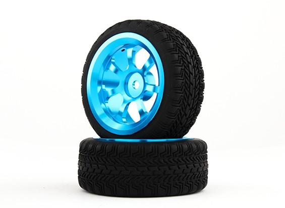 HobbyKing 1/10 de aluminio de 12 mm y 7 rayos rueda hexagonal (azul) / W 26mm Neumático (2pcs / bolsa)