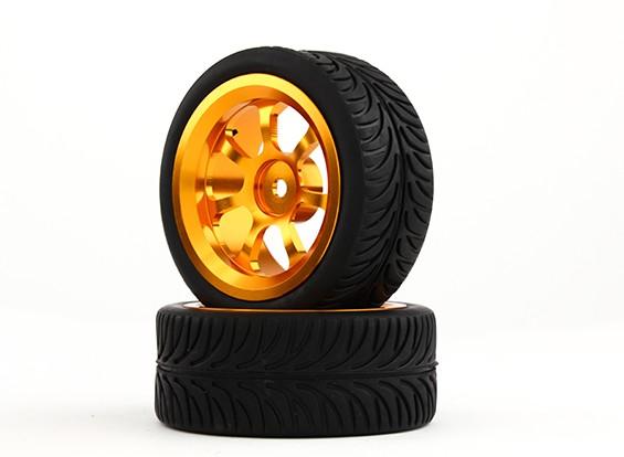 HobbyKing 1/10 de aluminio de 12 mm y 7 rayos rueda hexagonal (oro) / AA de 26 mm Neumático (2pcs / bolsa)