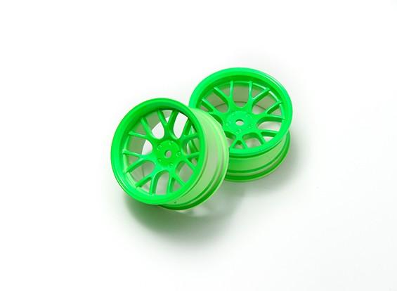 """01:10 Juego de ruedas """"Y"""" y 7 rayos fluorescente verde (6 mm Offset)"""