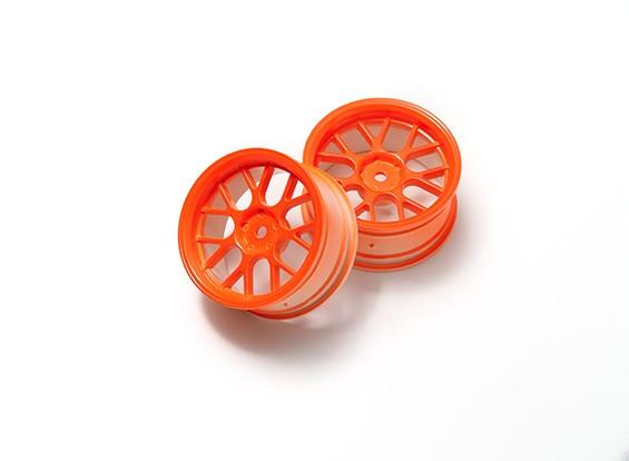 """01:10 Juego de ruedas """"Y"""" y 7 rayos Naranja Fluorescente (3 mm Offset)"""