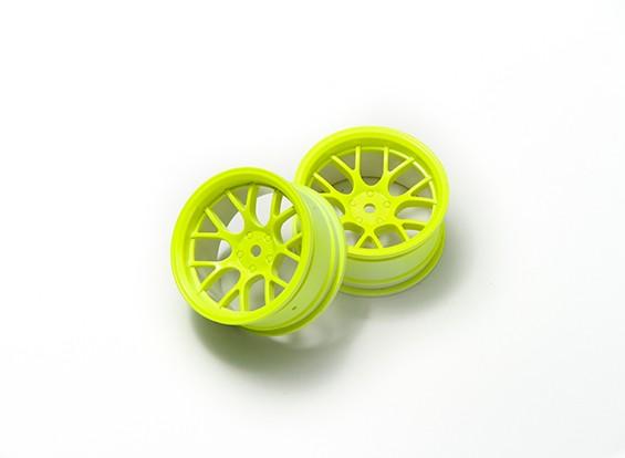 """01:10 Juego de ruedas """"Y"""" y 7 rayos amarillo fluorescente (6 mm Offset)"""