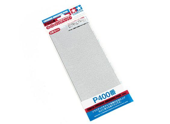 Acabado en húmedo / seco del papel de lija P400 Grado Tamiya (3 piezas)