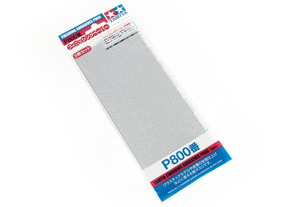 Acabado en húmedo / seco del papel de lija P800 Grado Tamiya (3 piezas)