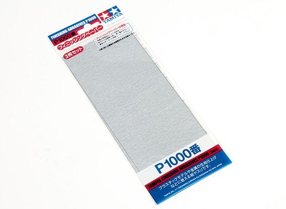 Acabado en húmedo / seco del papel de lija P1000 Grado Tamiya (3 piezas)