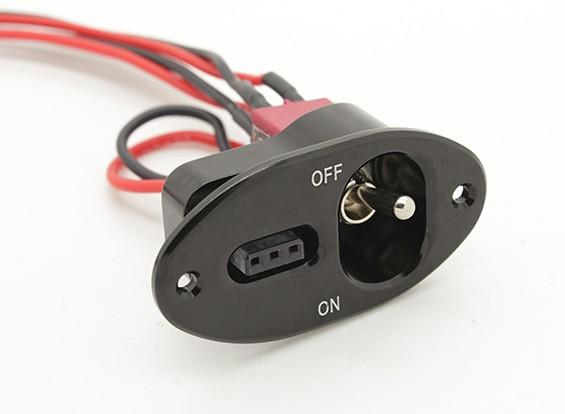 Medio del cableado del interruptor de servicio oval Futaba / JR con construido en el zócalo de carga