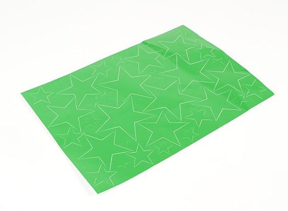 Modelo de estrella auto-adhesivo del sistema de la etiqueta 420 x 300 mm (verde) (1 unidad)