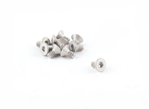 Titanio M2 x 4 avellanada hexagonal del tornillo (10pcs / bag)