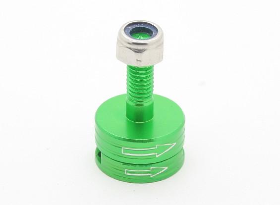 CNC de aluminio M6 lanzamiento rápido de auto-apriete Prop Conjunto adaptador - Verde (en sentido horario)