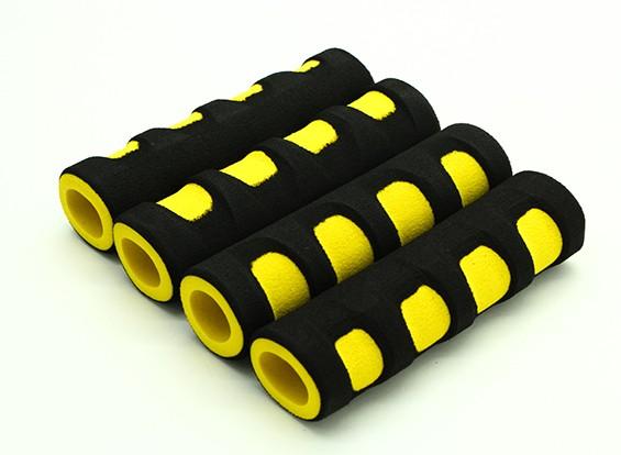 La espuma de EVA del cardán manija amarillo / negro (107x28x18mm) (4pcs)