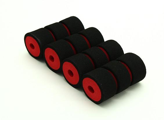 Multi-Rotor espuma amortiguador de Skid collares Rojo / Negro (47x23x6mm) (4pcs)