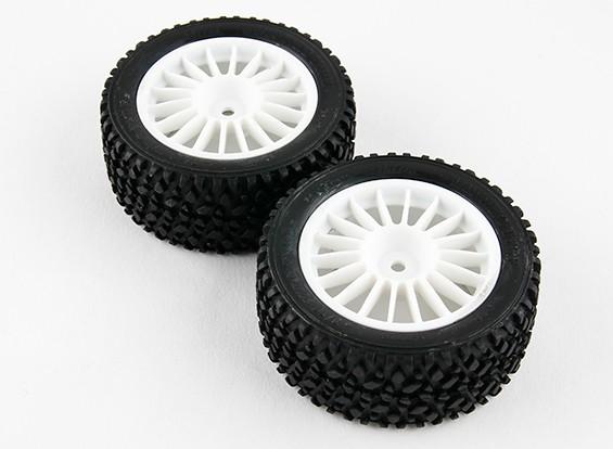 Basher RZ-4 1/10 Rally Racer - 30 mm completa del neumático trasero Set - Blanco (2 unidades)
