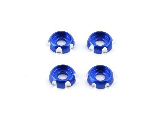 3 mm de aluminio CNC cabeza redonda Lavadora - Deep Blue (4pcs)