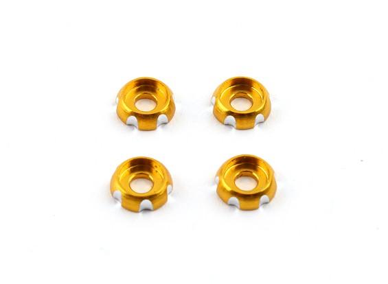 3 mm de aluminio CNC cabeza redonda Lavadora - oro (4pcs)