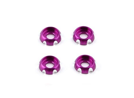 3 mm de aluminio CNC cabeza redonda Lavadora - Púrpura (4pcs)