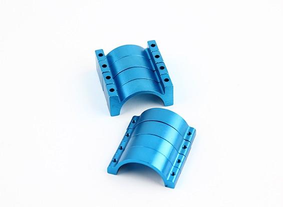 Azul anodizado de doble cara CNC de aluminio tubo de sujeción 25 mm Diámetro