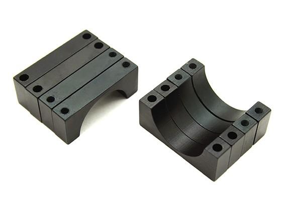 Negro anodizado doble 6mm Sided CNC de aluminio tubo de sujeción 22 mm de diámetro (juego de 4)