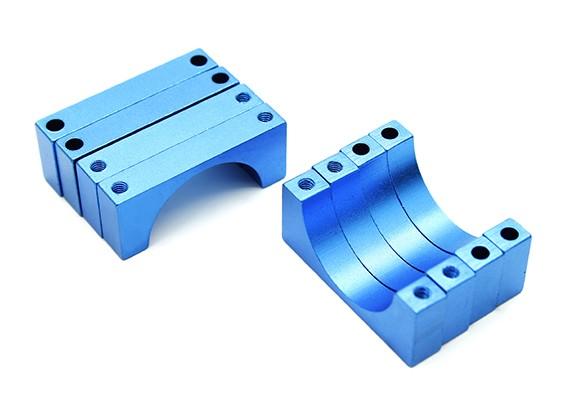 Azul anodizado doble 6mm Sided CNC de aluminio tubo de sujeción 22 mm de diámetro (juego de 4)