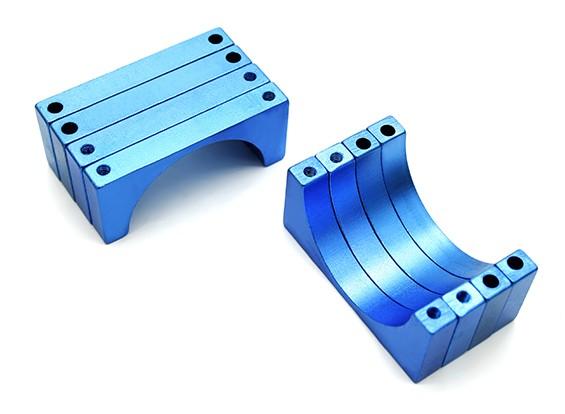 Azul anodizado doble 6mm Sided CNC de aluminio tubo de sujeción 28 mm Diámetro (juego de 4)