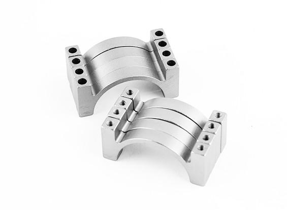 Plata anodizado CNC de doble cara de aluminio tubo de sujeción 25 mm Diámetro