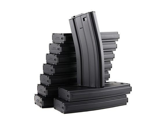 King Arms 120b revistas de metal redondo para las series de Marui M4 / M16 AEG (Negro, 10pcs / caja)