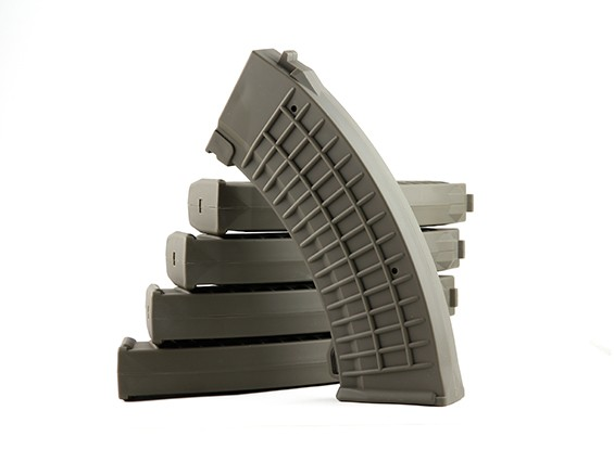 King Arms 110rounds revistas polacas tipo de Marui AK AEG (de color gris oliva, 5pcs / caja)